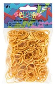 300 Bands Glitter Gold Original Rainbow Loom Silicone Bands 12 Clips by Rainbow Loom