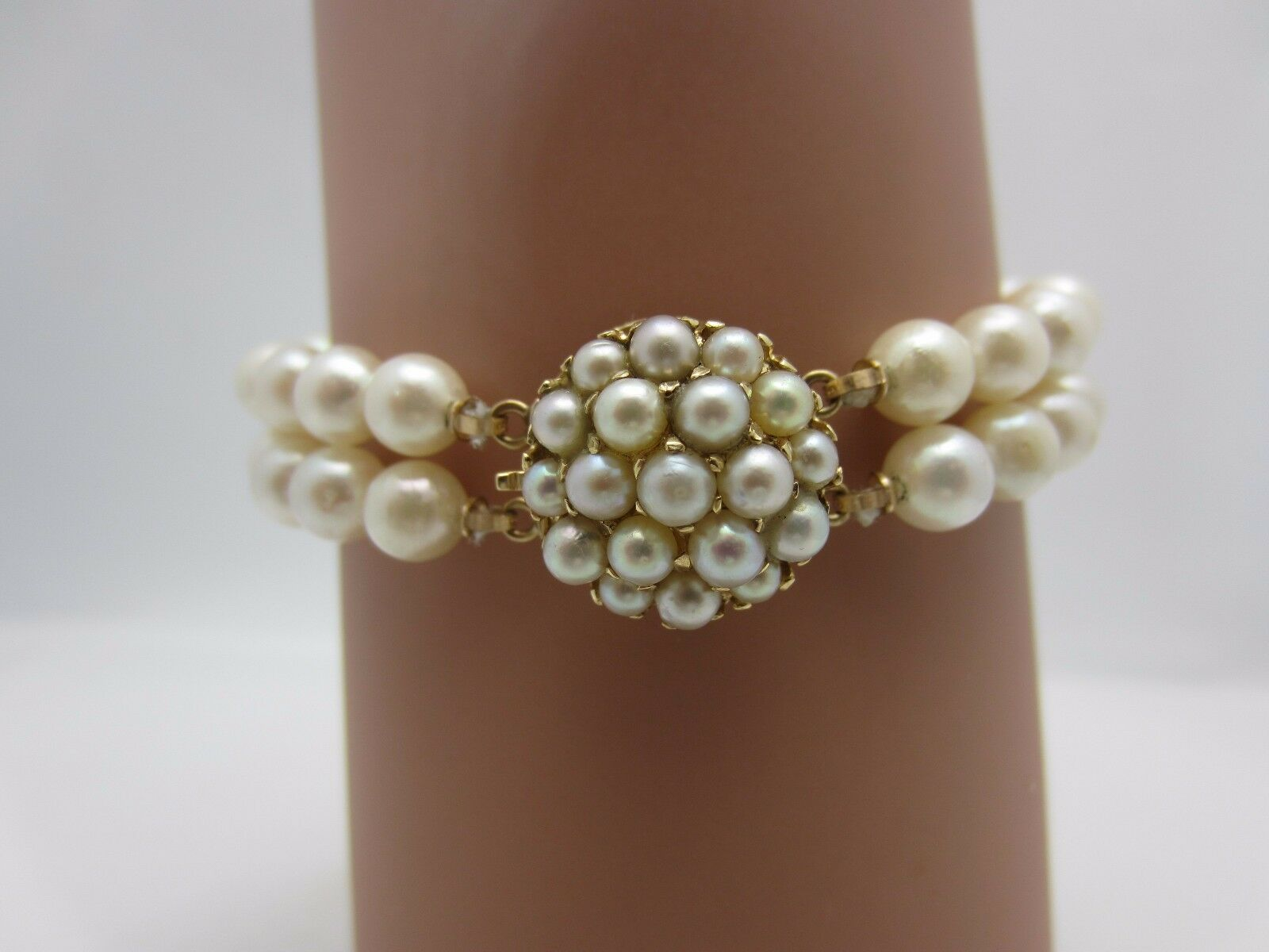 14K Yellow gold and Double Strand 6 mm Pearl Bracelet with Fancy Clasp 7