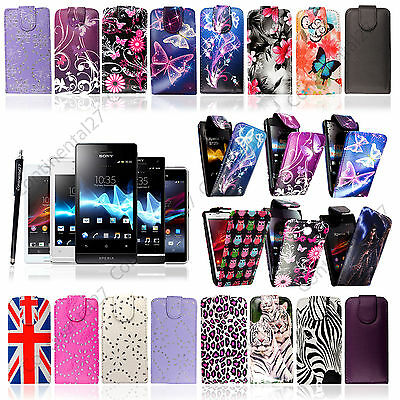 Top Opening PU Leather Magnetic Flip Case For Various Sony Xperia Phones+Stylus