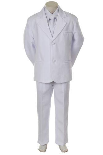 2T-20 NEW boys 5-piece Dress Formal white Suit Tuxedo Set w//vest Size S-XL