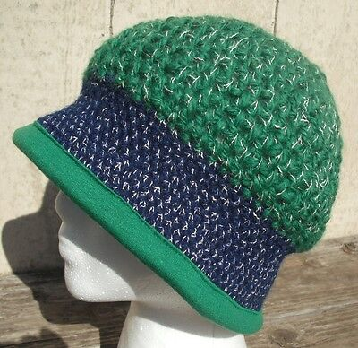 Lush Green and Blue Crocheted Cloche - Handmade by Michaela