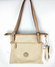 Giani Bernini  119 NWT Linen White   Natural Colorblock Tote Bag   Coin  Purse