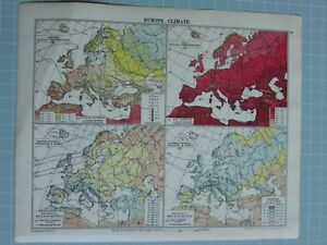 1933 Map Of Europe.1933 Map Europe Climate Pressure Winds Rainfall Summer Winter