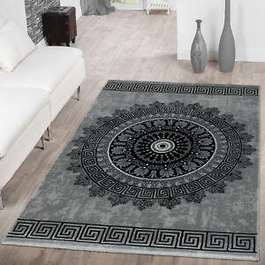 details sur tapis poils ras style oriental chine bordure design ancien gris noir
