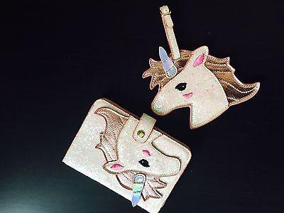 Shiny pink unicorn Passport Womens documents folder bag mini wallet luggage tag