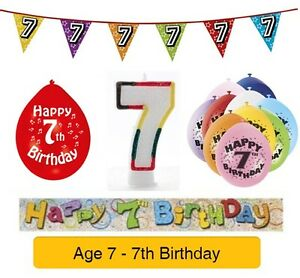 Image Is Loading AGE 7 Happy 7th Birthday Party Balloons Banners