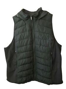Tangerine Women Active Puffer Full-Zip Hooded Vest Olive, Medium