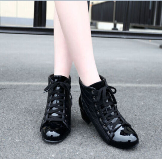 US4-13 womens ankle boots winter Patent lace up Preppy low heel sweet Plus Sizes