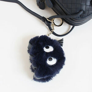 Unique Faux Fur Fluffy Googly Eyes Ghost Pac Man Bag Charm in Black ... ebdc166e39