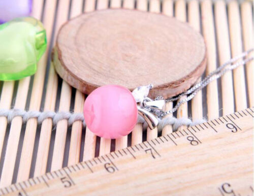 Women Girls Charming Carved Synthetic Opal Amulet Apple Shape Pendant Necklace
