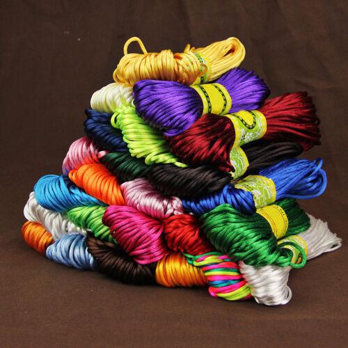 20 m 2.5 mm Rattail satin cordon nylon MACRAME tressage corde à Tricoter Corde stricte