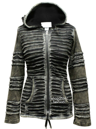 100/% Cotton Slashed Long Sleeved Hip Length Pointy Hoodie Women Gothic Jacket