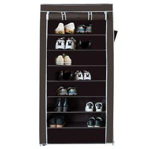 10-Tier-Shoe-Rack-with-Dustproof-Cover-Closet-Practical-Organize-Standing-Coffee