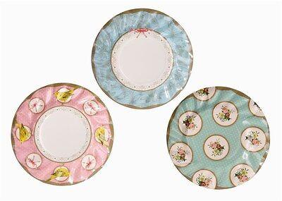 Afternoon Floral Tea Plates x 12 Alice in Wonderland Vintage Paper Tea Plates