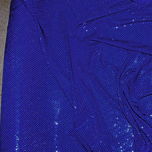 SEQUIN KNIT STRETCH DISCO DOTS FABRIC ROYAL BY THE YARD
