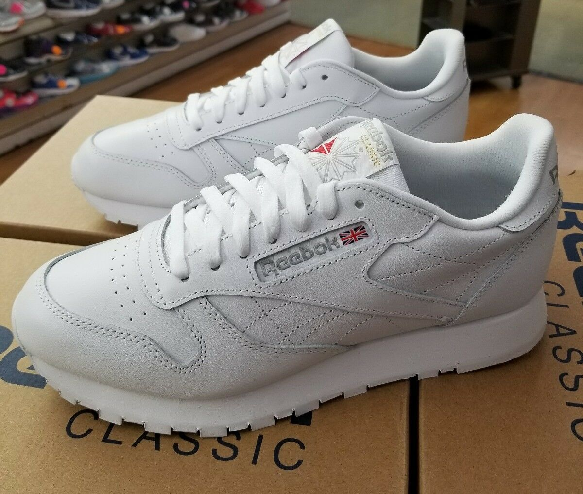REEBOK CLASSIC LEATHER 9771 WHITE LIGHT GREY MEN US SZ 10.5