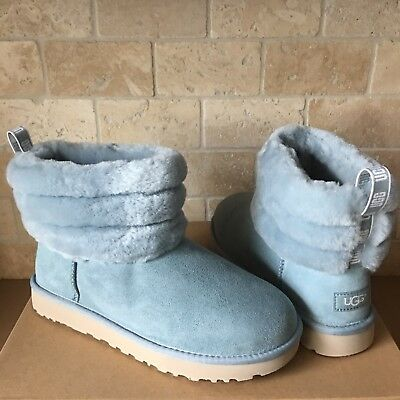 Womens Fluff Mini Quilted Logo Boots Women's Grey