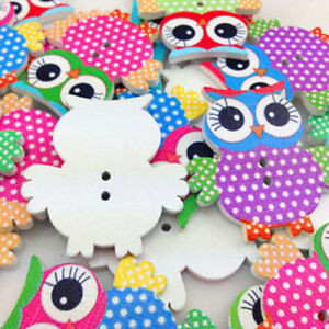 NE-AU-BH-10-Pcs-Mixed-Owl-Pattern-Wooden-Buttons-Sewing-Scrapbook-Craft-DIY-D