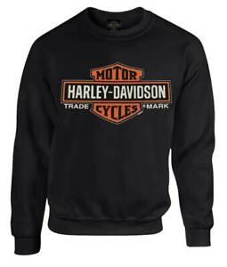 Harley-Davidson-Men-039-s-Elongated-B-amp-S-Fleece-Pullover-Sweatshirt-Black-30298768