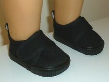 "Fits 18"" American Girl or Boy Doll Clothes Black Casual Canvas Strap Shoes"