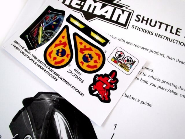MOTU HE-MAN Masters of the Universe replacement stickers 1983 ROTON Bonus!