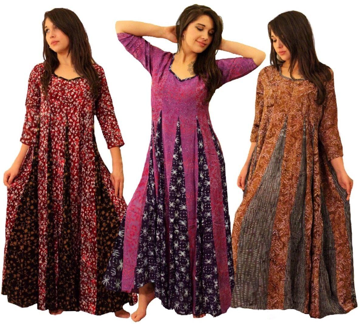 Boho Inset Dress - 3 4 Sleeve Gauzy Batik -Triangle LotusTraders U580 Plus Sizes
