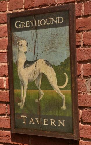 "Trade Sign /""Greyhound Tavern/"" Dog Primitive Antique Look Repro of Original Art"