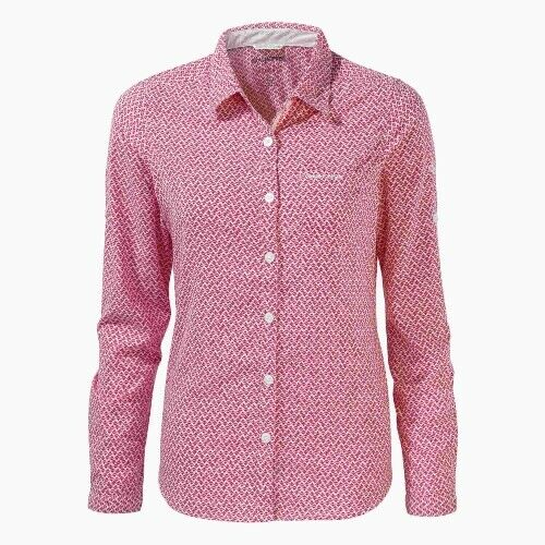Craghoppers Nosilife Verona Langarm Bluse Damen rot Outdoor Hemd Outdoorhemd
