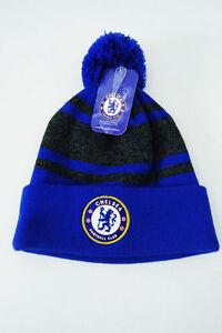 390e93428a5 Image is loading Chelsea-FC-Soccer-POM-BEANIE-Sports-Cap-Knit-