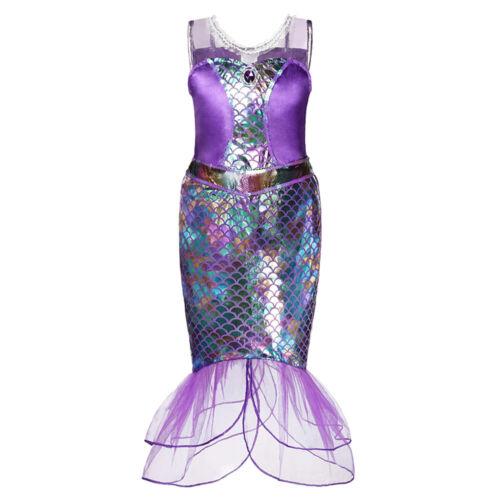 Toddler Baby Girl Mermaid Princess Ruffle Tutu Dress Kid Sleeveless Gown Costume