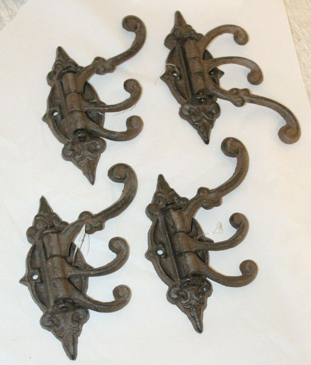 "Lot of 6 Large 6/"" x 3/"" Fancy Ornate Iron Coat Decorative Hat Hooks Hangers"