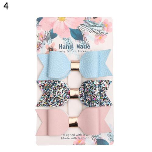 3x Sparkle Hair Bow Clip PU Leather Children Baby Girls Handmade Dress Decor Kid
