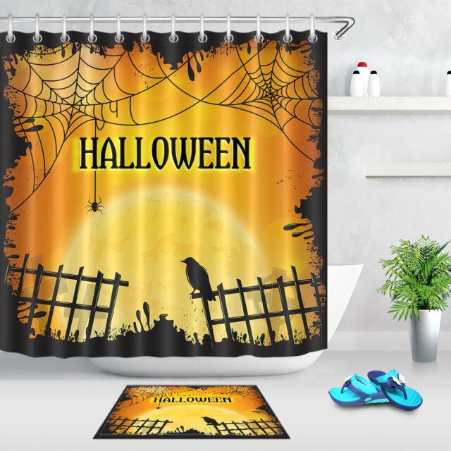 Halloween Shower Curtains Waterproof Fabric /& Hooks Bird Spider web Moon Decor
