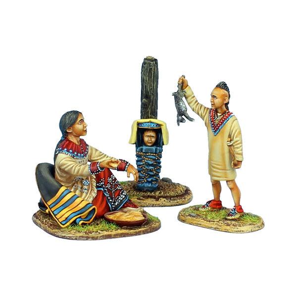Första legionen  AWI098 träland Indian Squaw med Boy Hunter och bebis