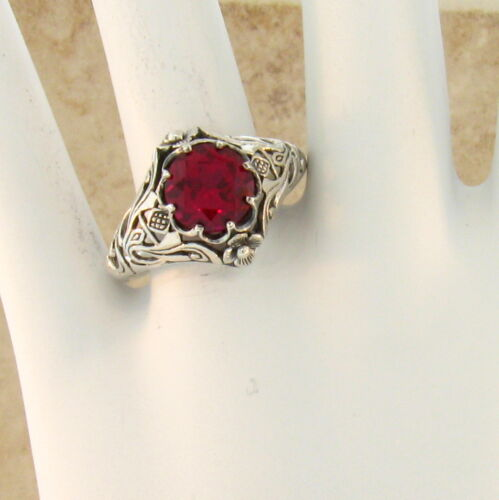 #321 ANTIQUE ART NOUVEAU STYLE RED LAB RUBY .925 STERLING SILVER RING SIZE 8