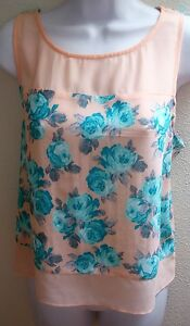 top-blouse-large-l-sleeveless-pink-blue-floral-print-sheer-casual-womens-tank