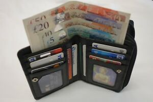 Ladies-Soft-Cow-Leather-Purse-Wallet-Organiser-Black-Many-features-RFID-PROOF
