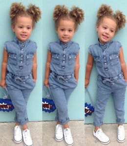 e86ce7970 Details about USA Canis Toddler Kids Baby Girl Denim Romper Jumpsuits  Playsuit Outfits Clothes