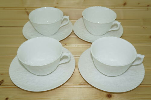 "Spode Savoy White 4 Cups, 2 14"" and 4 Saucers, 5 34"""
