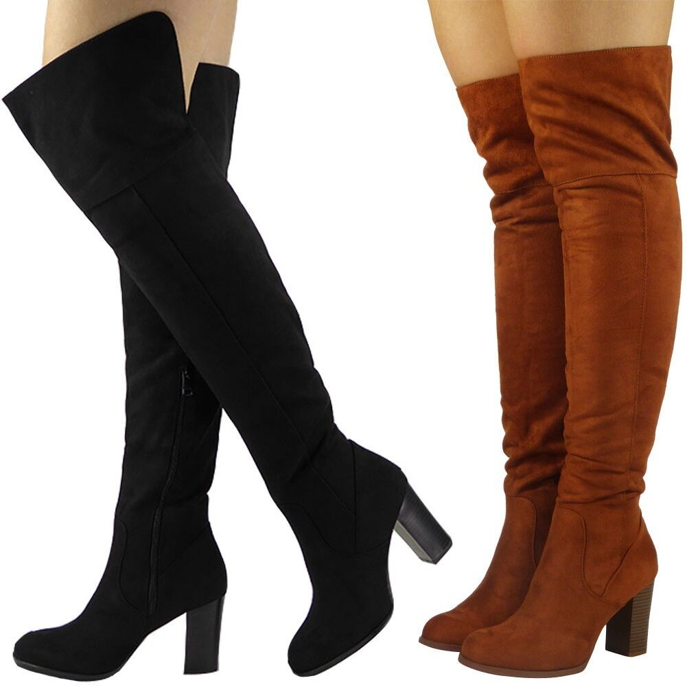 WOMENS LADIES OVER THE KNEE THIGH HIGH BOOTS SUEDE LONG BLOCK HEEL SHOES SIZE