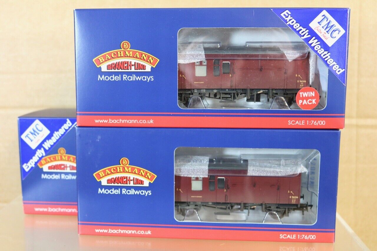 BACHMANN 38-525Y TMC WEATHERED BR ER MAROON HORSE BOX WAGON SET MINT BOXED nr