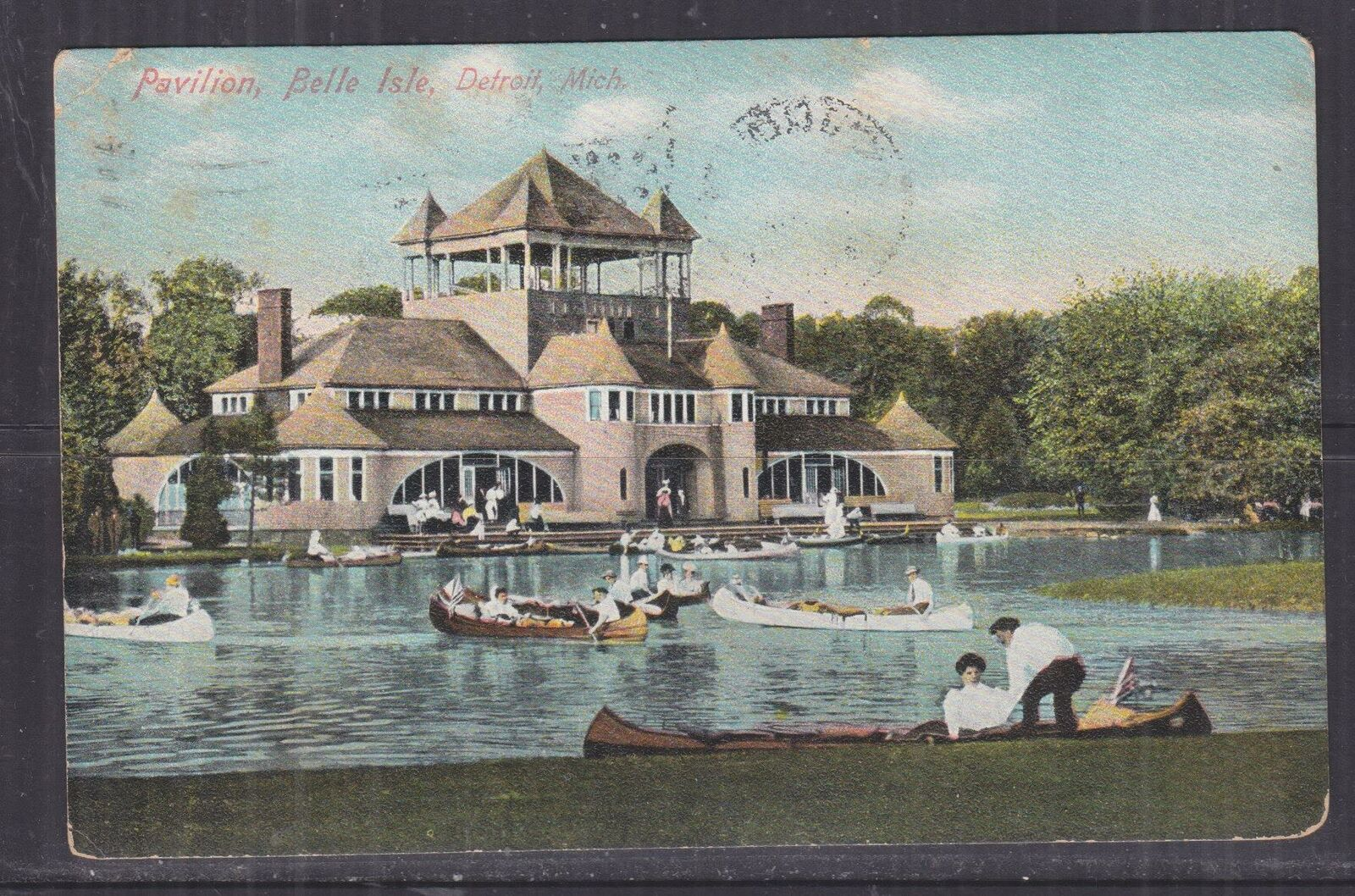 UNITED STATES, 1908 ppc.  Belle Isle, Detroit, 1c. Mount Clemens, Mich. to Wayne