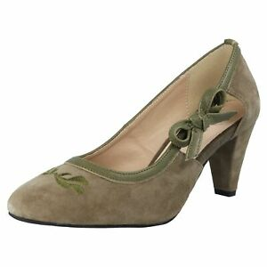 Details zu Hirschkogel Damen Trachten Dirndl Pumps High Heels Schuhe Oktoberfest Leder Grün