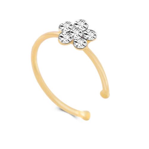 Surgical Steel Nose Stud Ring Crystal Rhinestone Flower Cartilage Body Piercing