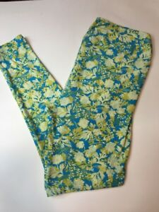 811cf865dc9312 LuLaRoe TC Tall and Curvy Leggings Aqua With Yellow Floral Print | eBay