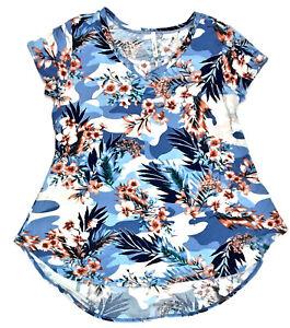 Cool-Melon-Floral-V-Neck-Swing-Tee-Blue-XL-MSRP-30-00