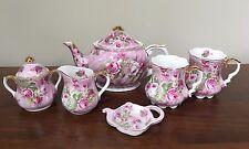 Vintage Crown Victorian Staffordshire PINK ROSE CHINTZ TEA SET ~ ENGLAND
