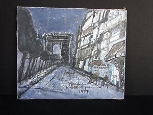 TABLEAU HUILE SUR TOILE SIGNEE MARIA KEIKO KOZAKAI 1977 SCENE A PARIS C196
