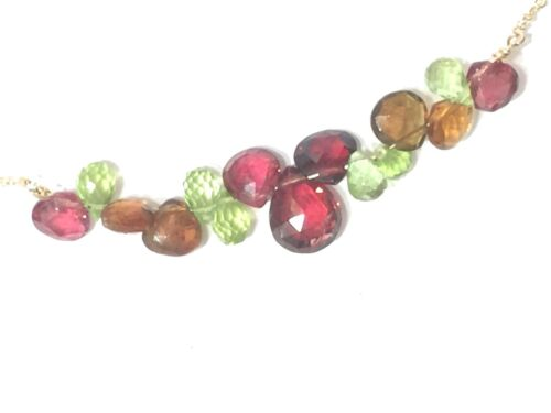 """Garnet peridot andalusite wire wrap gemstone necklace 16/"""" solid 18k yellow gold"""