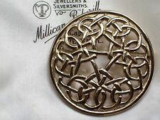VINTAGE gioielli AUDACE Tono Oro Scozzese Celtico Design Spilla/Pin kilt con motivo a Plaid